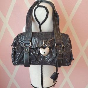 NY&C Black Fabric Faux Snakeskin Shoulder Bag